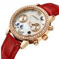 Senhoras SINOBI Luxo Ouro Rosa Diamante de Couro de Pulso De Quartzo-relógio Vermelho Unhas Das Mulheres Moda Relógios De Pulso Automático Relógios De Grife