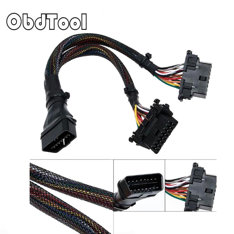 OBDTOOL OBD II cable 16 Pin OBD 2 Splitter Adapter Extension Cable Male to Dual Female Y Connector obd2 extended interface line obd2 obd cable 16pin male port to dual 16 pin female obdii odb2 car ecu connector adapter obd 2 odb ii automotive tool free ship