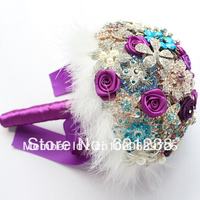 Purple Wedding Bouquet / handmade jewelry Bouquet / Bridal Bouquet/ Purple brooch bouquet