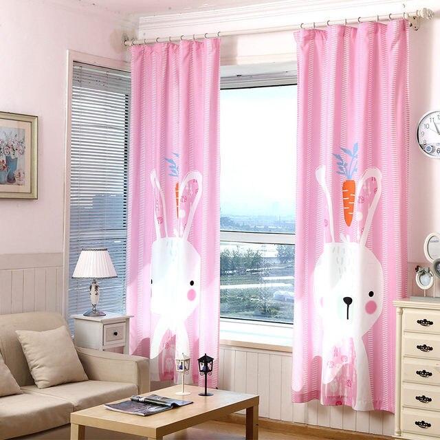 Online Shop 3D children pink cute rabbit curtains kids room korean ...
