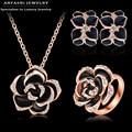 ANFASNI Best Seller Jewelry Set Rose Gold Plated Austrian Crystal Enamel Earring/Necklace/Ring Flower Set ST0003-A