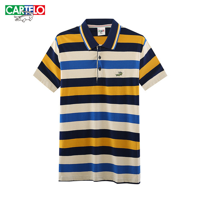 Cartelo brand summer new business men's striped printed Korean Slim cotton short-sleeved striped polo shirt