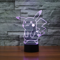 3D cartoon Pikachu Night Light Halloween Kids Toys Holiday Gifts USB Lampe Pocket Monsters Lampara Factory Wholesale