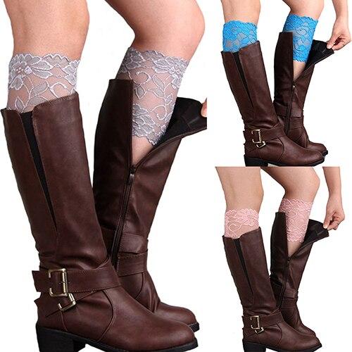Hot Selling 2015Fashion Women Girls Stretch Lace Trim Boot Cuffs Flower Leg Warmers Toppers Socks