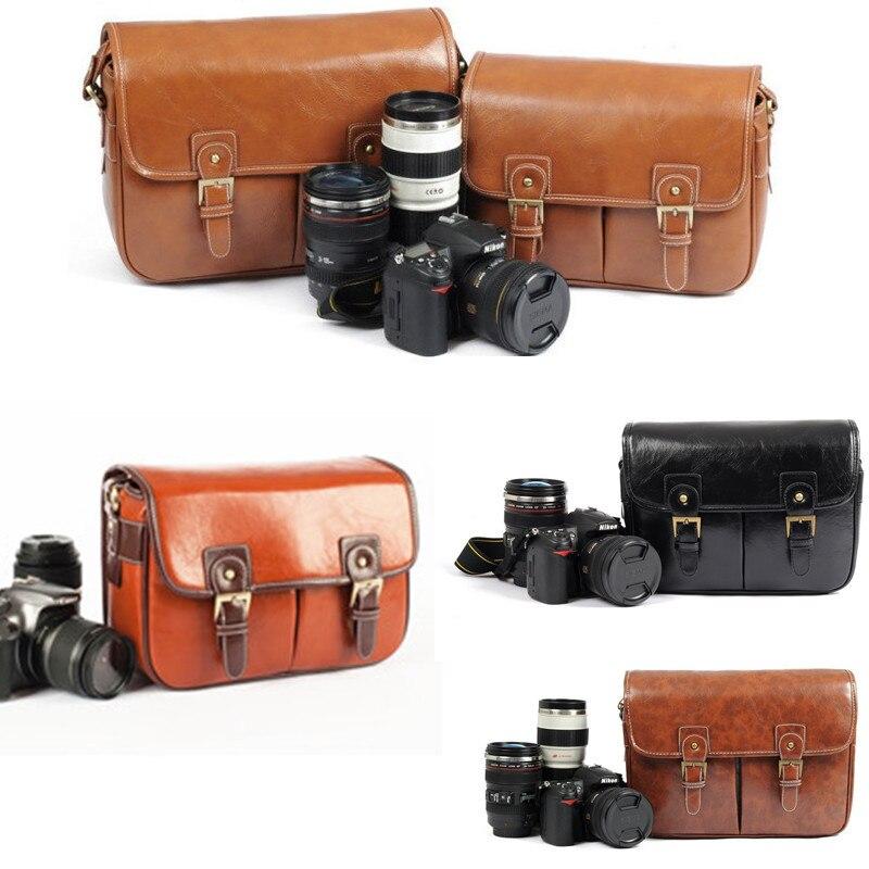 Hot Vintage Leather Camera Shoulder Messenger Bag Padded DSLR Canon Nikon Sony - Digital_online007 store