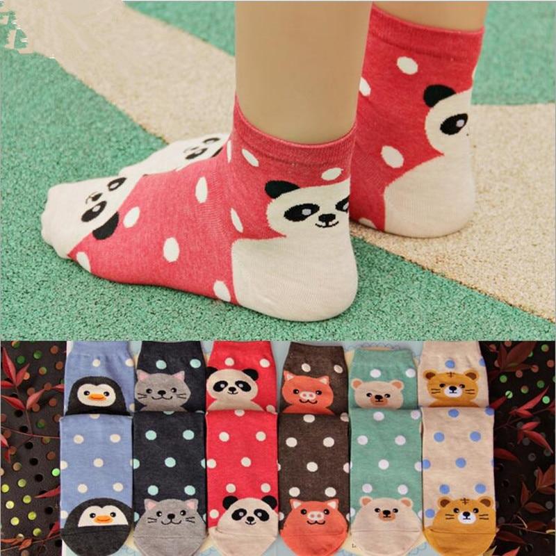 1 pari naisten söpö eläin Tiikeri / Kissa / Panda puuvilla Nilkkasukat uutuus kawaii-tuotemerkin lämpimät sukat naisille / tyttö calcetines sokken