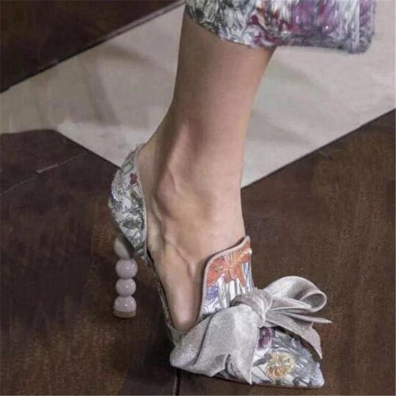 Mariage As Bowtie Floral Femme Bout Hauts Femmes 2019 as Pointu Robe Pic Perle Pic De Imprimé Talons Élégantes Chaussures Piste Dames Pompes U68rOUq