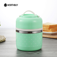 WORTHBUY Portable Cute Japanese Lunch Box Leakproof Thermal For Food Stainless Steel Bento Box Kids School