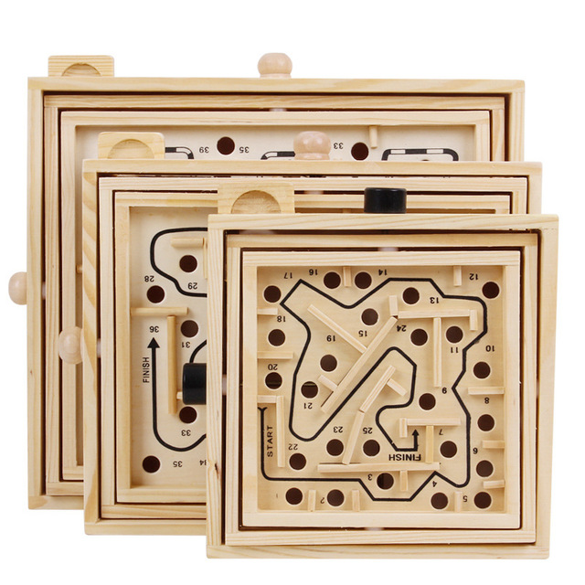 Montessori 3D Maze Ball Games Knob Wooden Labyrinth Toys Children Educational Toy Handcrafted Puzzles Rolling Beads