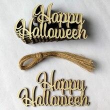 10 Pcs Festival Party Supplies Wooden Hanging Sign Door Halloween DIY Decoration Accessories Pendant