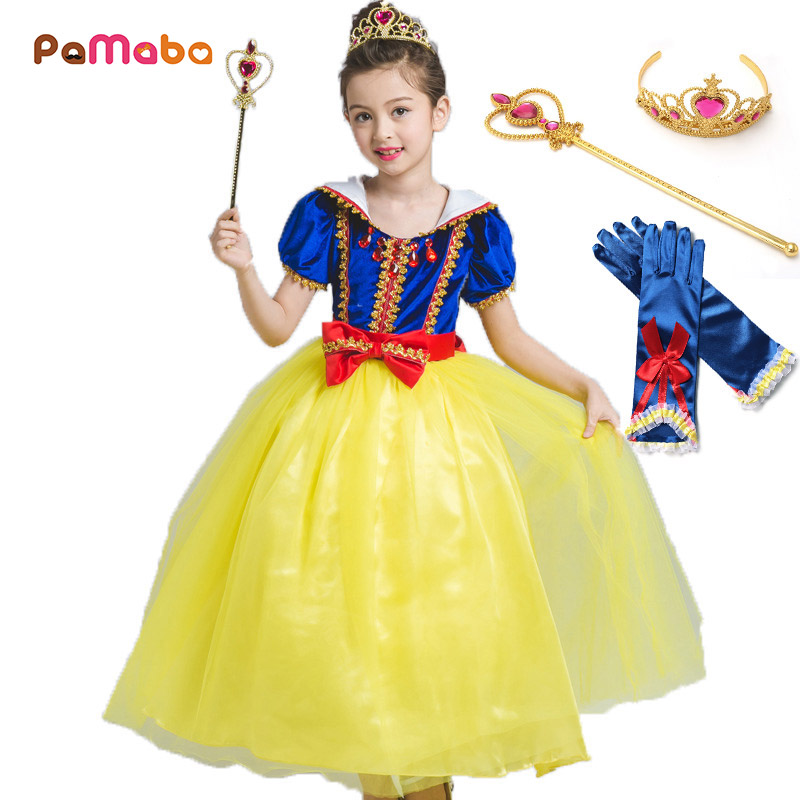 PaMaBa Classic Snow White Costume for Girls Deluxe Elegant Kids Princess Snow White Dresses Crystal Charms Gold Trim Party Frock платье frock and frill frock and frill fr055ewdlds8