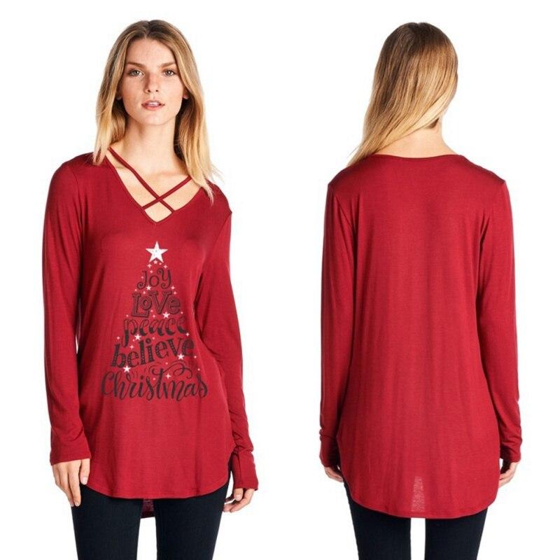 Christmas Style Round Collar Cross V-neck Letter Printing Long Sleeves T-shirt Fashion Loose Women Shirt 2017