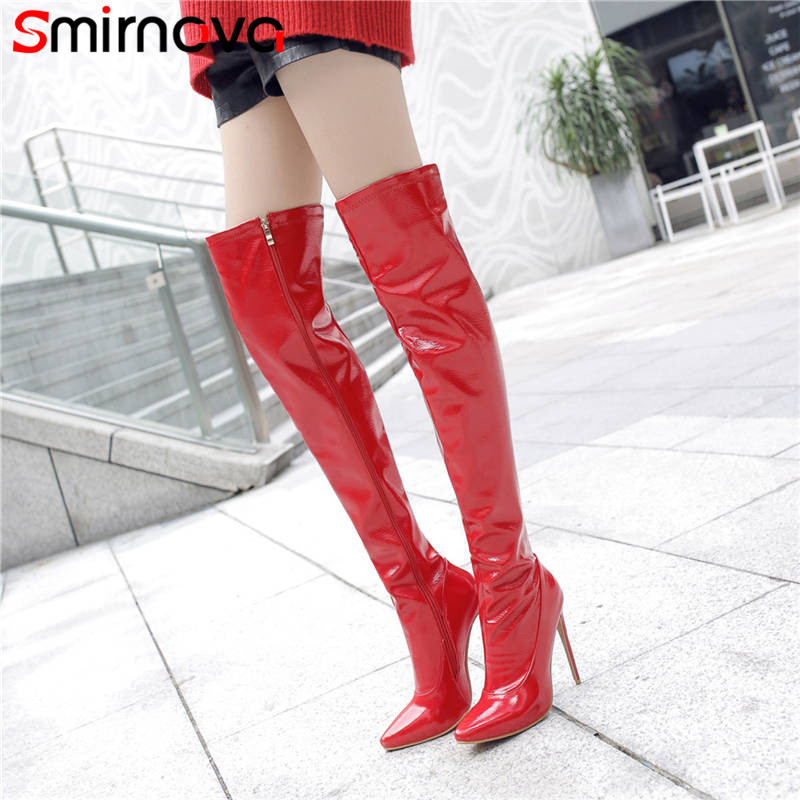 Smirnova 2018 fashion autumn winter shoes woman pointed toe thin high heels over the knee high heels boots women plus size 33-48 цена