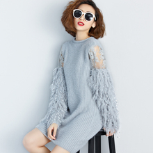 [TWOTWINSTYLE] 2017 Autumn Winter Fur Spliced Long Sleeves Knitted Sweaters Dress Women New Fashion Clothing Pullovers Gray
