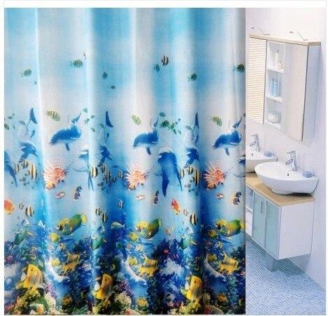 Opaque Shower Curtain High Grade Waterproof Mildew Trade Jumbo Ocean Blue Series In Curtains From Home Garden On Aliexpress