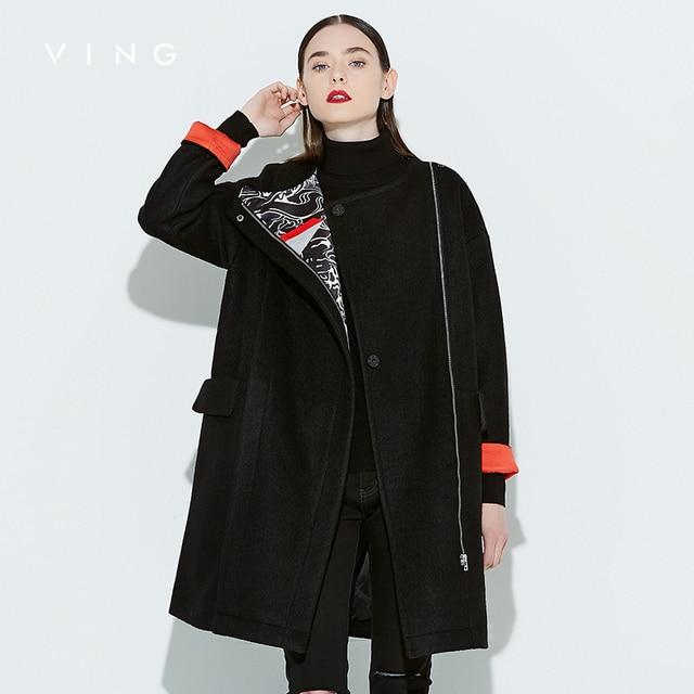 ВИНГ 2017 Осенью Новый Кокон Смеси Пальто Женщин Свободные Длинные Пальто Большой Карман Печатных Моды Стиль