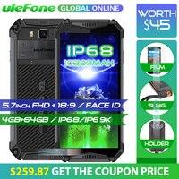 Ulefone Броня 3 водонепроницаемый мобильный телефон с IP68 10300 мАч 5,7 FHD + Octa Core 4 ГБ + 64 ГБ helio P23 Android Глобальный Версия смартфона