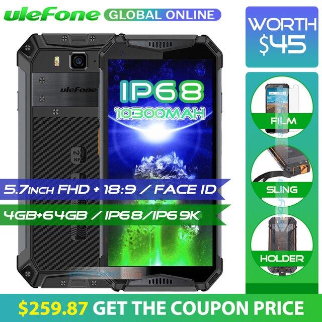 """Ulefone Броня 3 IP68 Водонепроницаемый мобильного телефона 10300 mAh 5,7 """"FHD + Octa Core 4 GB + 64 GB helio P23 Android Глобальный Версия смартфона"""