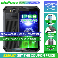Ulefone Armor 3 IP68 Waterproof Mobile Phone 10300mAh 5.7 FHD+ Octa Core 4GB+64GB helio P23 Android Global Version Smartphone