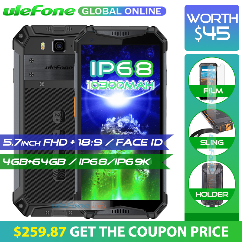 Ulefone Armure 3 IP68 Étanche Mobile Téléphone 10300 mah 5.7 FHD + Octa Core 4 gb + 64 gb helio P23 Android Mondial Version Smartphone