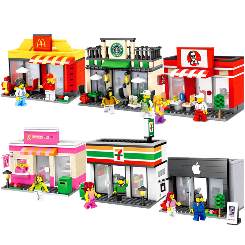 New City Expert Downtown Diner Street Shop Building Blocks Architecture Model Sets Bricks Classic Kids Toys Compatible Legoings