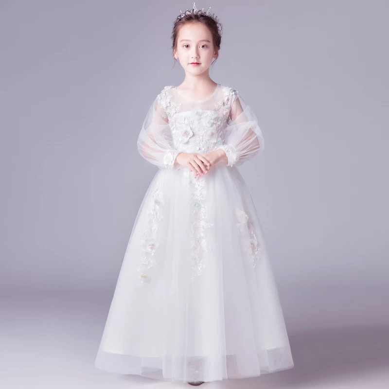 все цены на Model Show Catwalk Appliques Flowers Princess Long Mesh Dress 2018Luxury Children Girls Elegant Birthday Evening Party Dress
