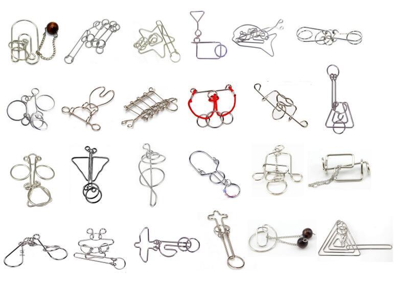 24 pièces par ensemble IQ métal fil Puzzle IQ magique jeu de casse-tête pour adultes enfants enfants