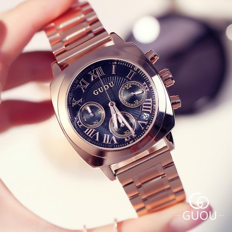 ФОТО Hot Sale Fashion Original GUOU Brand Roman Dial /w Calendar Rose Gold Stainless No Fade Quartz Analog Women Ladies Wrist Watch