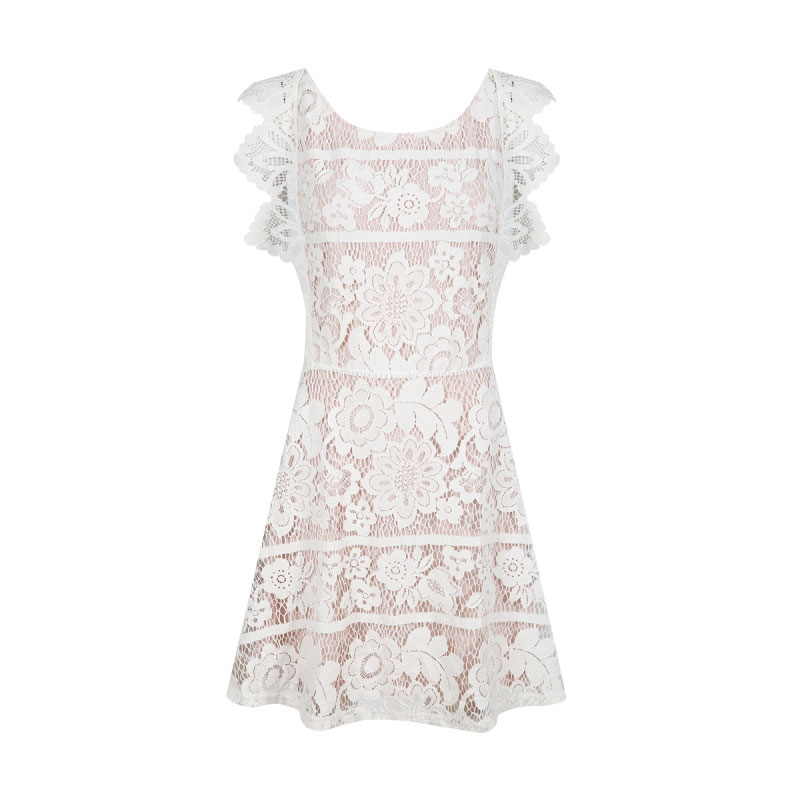 HDY 2018 Women Lace Dresses Sexy Backless Crisscross Lace Crochet Sheer Dress Cut Out Sweet Elegant Midi Dress White Vestidos 11