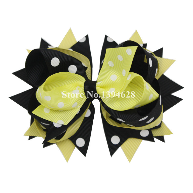 2016 Hot Sale Boutique Bows With 6cm Hair Clip,Black,Yellow With Polka Dot  Girl Bows,Grosgrain Ribbon Bows, Hair Accessories halloween party zombie skull skeleton hand bone claw hairpin punk hair clip for women girl hair accessories headwear 1 pcs