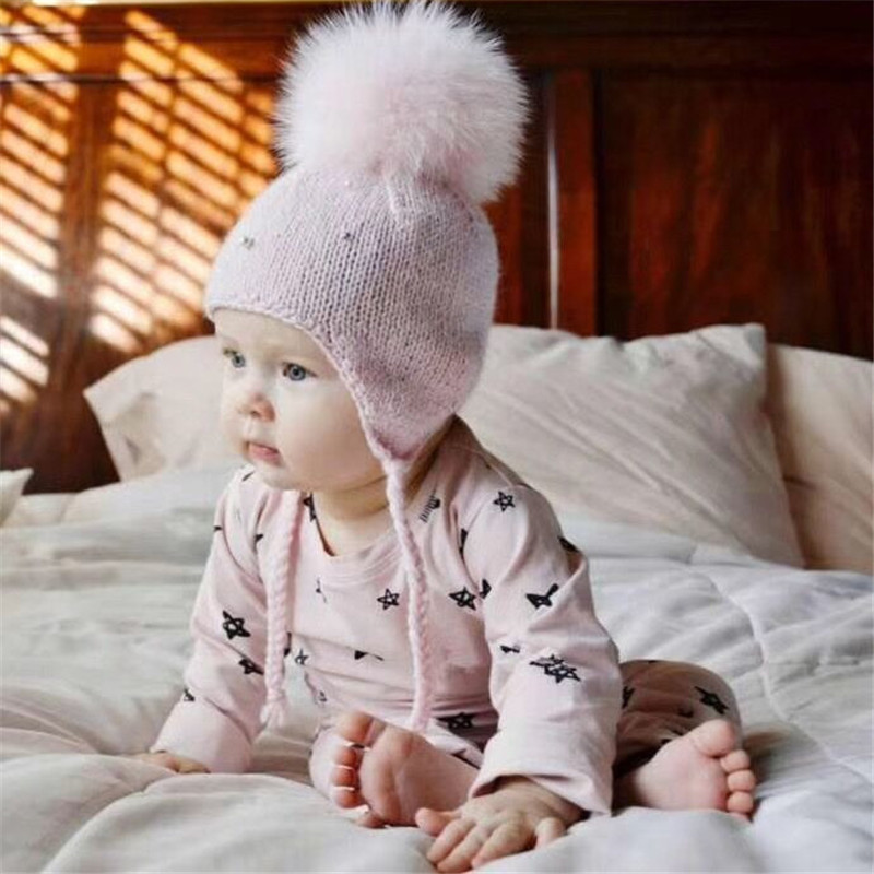 Solid Color Baby caps Winter Warm Hat with Big Ball Decor Knitted Beanie Cap Boys Girls Beaded Protect Ear Hat