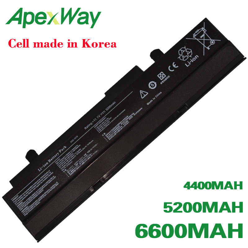 ApexWay white/Black battery for Asus EEE PC 1011 <font><b>1015</b></font> 1016 1215 1015b 1015p <font><b>A32</b></font>-<font><b>1015</b></font> A31-<font><b>1015</b></font> AL31-<font><b>1015</b></font> AL32-<font><b>1015</b></font> image