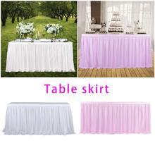 Сетчатая юбка для стола, 9 футов, прямоугольная, для свадьбы, дня рождения, вечеринки, для украшения стола, для малышей, праздничный макет, реквизит, юбка для стола