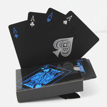 54Pcs Fine-Quality Plastic Pvc Poker Waterproof Black Playing Cards Creative Gift Practical Magic Gambling Board Game Cards все цены