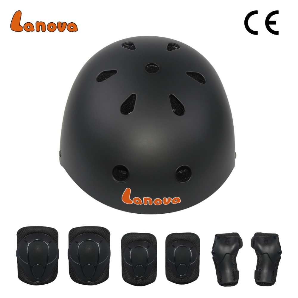 LANOVA  7 pcs/set Skating Protective Gear Sets Elbow pads Bicycle Skateboard Ice Skating Roller Knee Protector For Kids