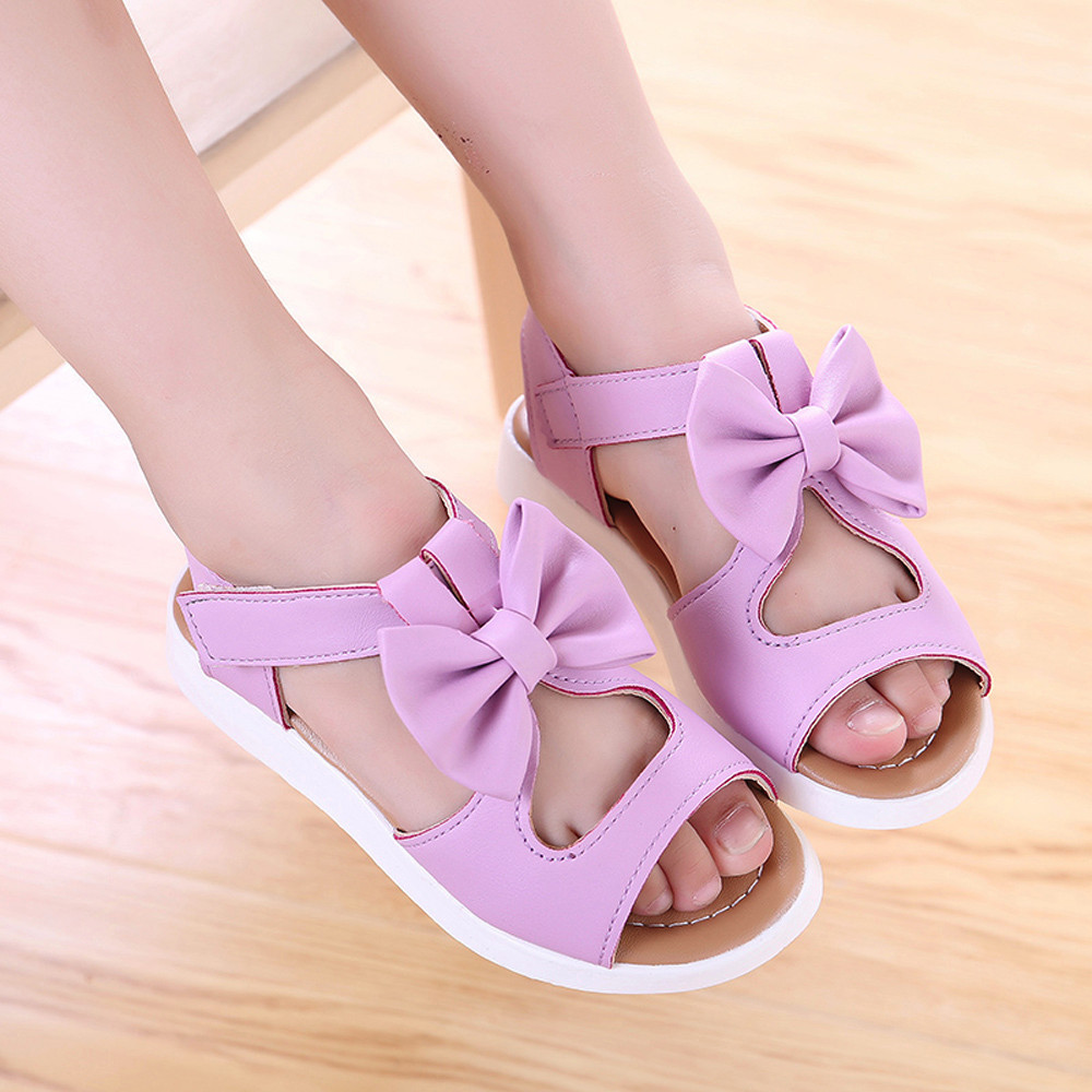 2018 new fashion Summer arrival Kids Children Sandals Fashion Bowknot Girls Flat Pricness Shoes PU leather shoes des sandales