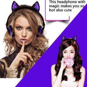 Image 5 - Holyhah fone de ouvido bluetooth wireless, fone de ouvido infantil de gato piscante dobrável, presente de aniversário, fone de ouvido gamer com luz led