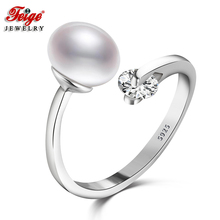 ФОТО feige real 925 sterling silver rings high quality anillos fine jewelry 8-9mm white freshwater pearl ring for women pearl jewelry