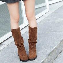 CAGACE/; женские брендовые ботинки; сезон осень-зима; женские милые ботинки принцессы до середины икры с круглым носком; стильная обувь из флока на плоской подошве; зимние ботинки