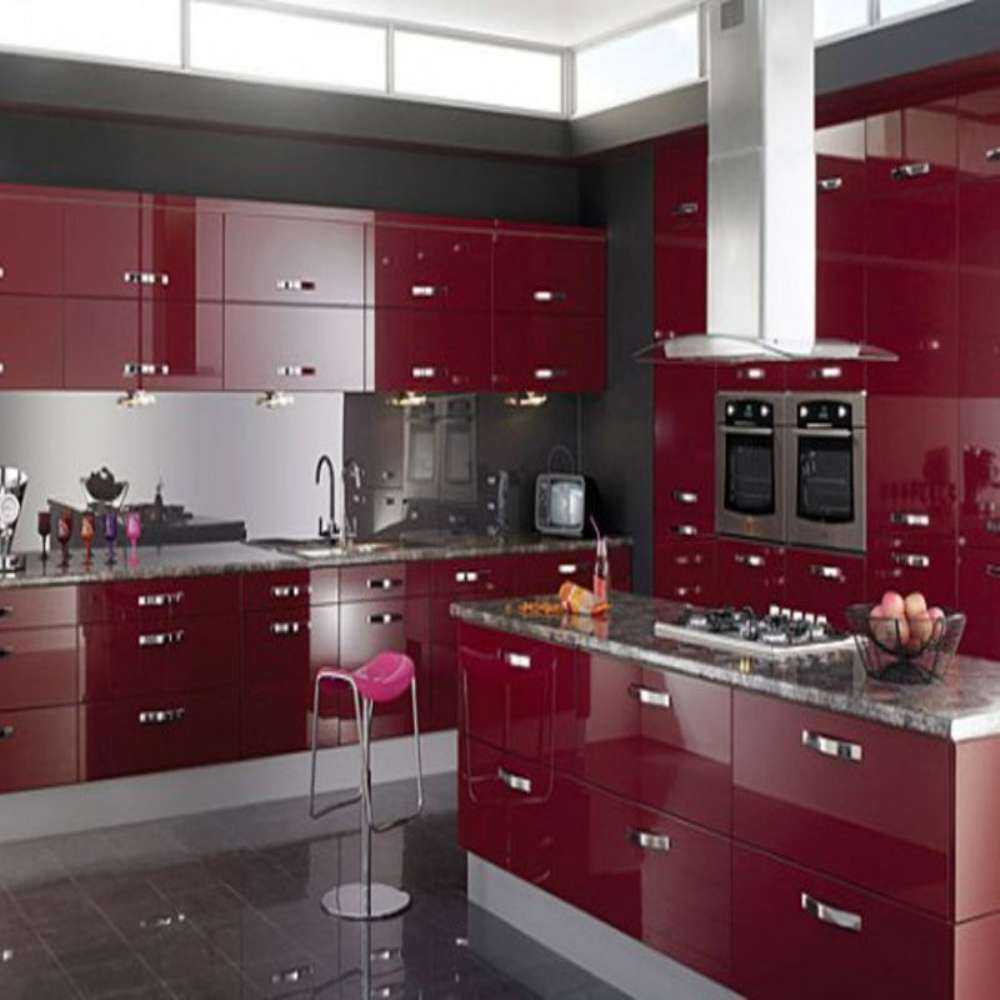 Luxury Wine Red High Gloss Central Island Shaped Plywood