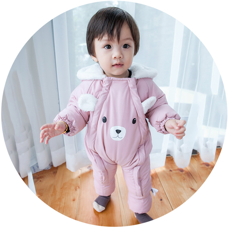 Newborn Winter Warm Romper baby girls and boys Jumpsuit Lovely Bear printing New Born Clothes Toddler Casual Rompers puseky 2017 infant romper baby boys girls jumpsuit newborn bebe clothing hooded toddler baby clothes cute panda romper costumes