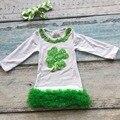 Resorte del bebé niñas vestido de algodón desgaste de los niños Día de San Patricio del trébol verde a juego con chunky arco boutique de ropa trajes
