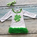 Spring baby girls kids wear shamrock green St. Patrick's Day cotton dress with matching chunky bow clothing boutique outfits