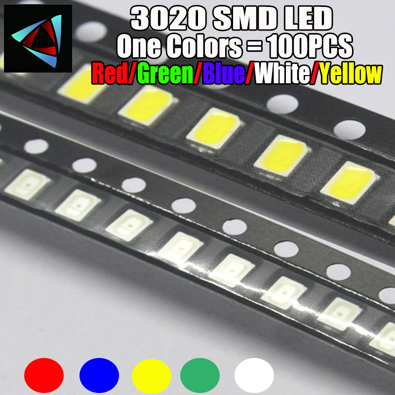 Electronic Components & Supplies 100pcs X 3020 Ice Blue Red Jade Green Warm White Yellow Pink Ultra Bright Smd Led Indication Special Summer Sale