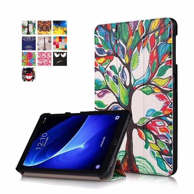 Pour Samsung Galaxy Tab A 10.1 2016 T580 T585 T580N T585N Luxe Stand Étui portefeuille En Cuir PU Peau Magnétique Intelligent Sommeil Housse