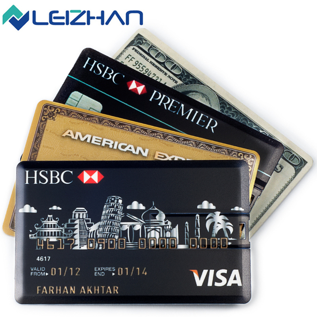 LEIZHAN Credit Card USB Flash Drive 64G Pendrive High Speed 32G USB Stick 16G Pen Drive 8G Flash Drive Customized Logo USB Gift