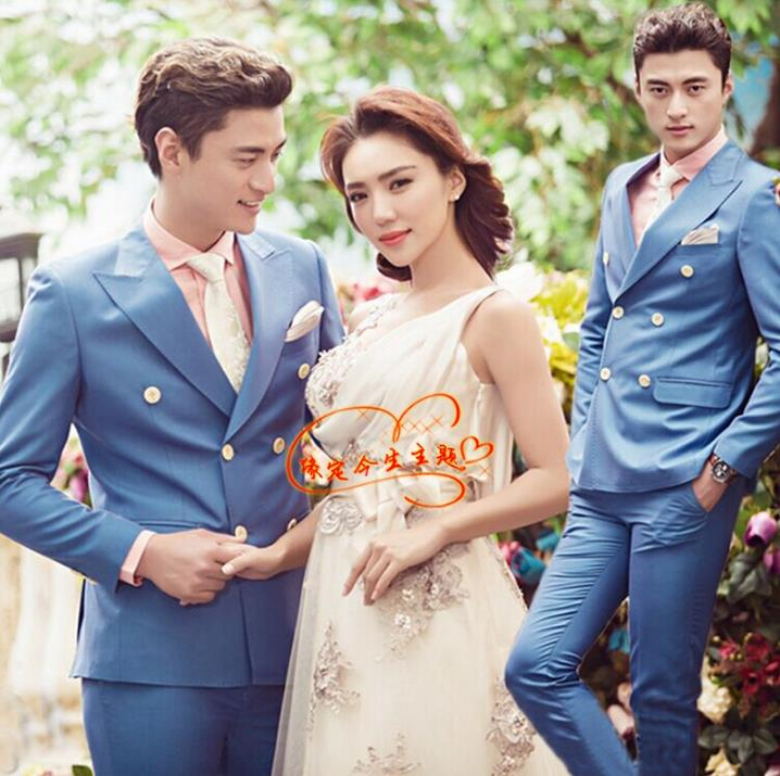 minglu's store Double breasted blazer men formal dress suit men costume homme terno masculino trouser marriage wedding suits for men's blue