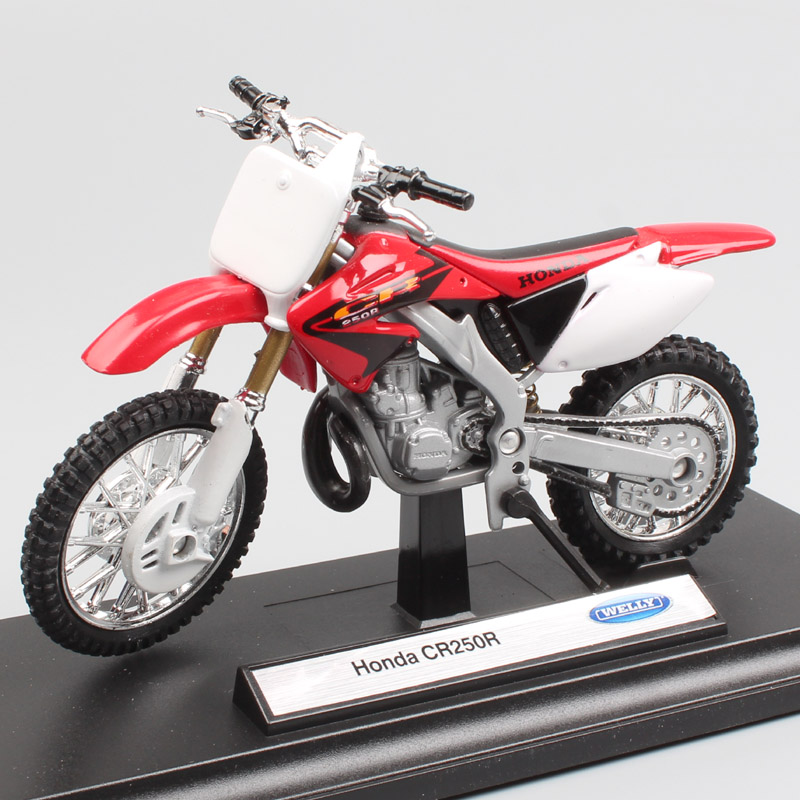 1/18 Scale Welly Honda CR250R 250 Motocross Bike Riding Enduro Dirt Motorcycle Diecast Model Miniatures Car Toys Gift For Kid's
