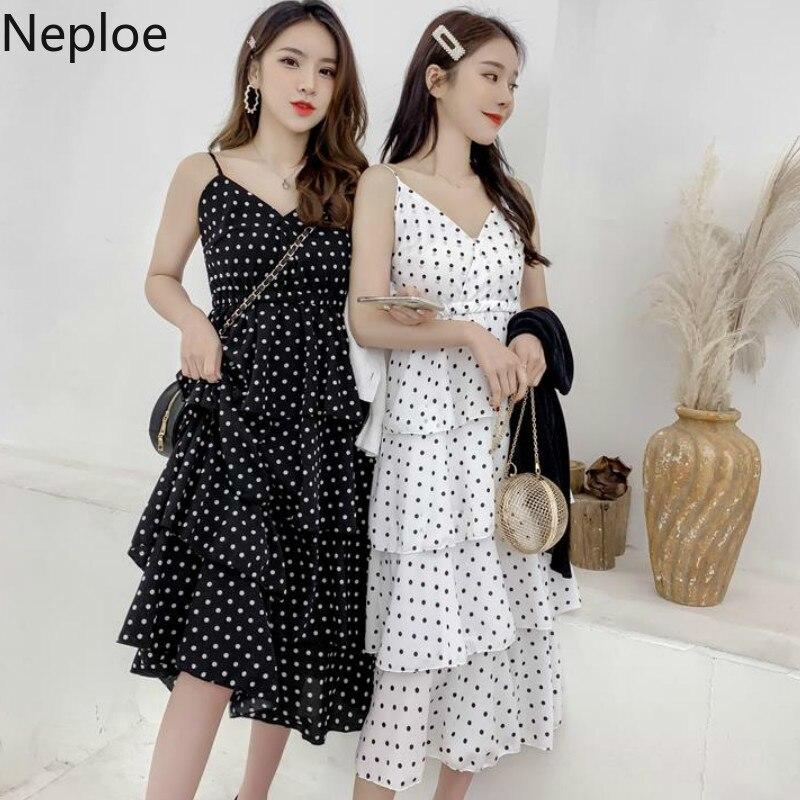 Neploe Chiffon Polka Dot Women Dress Summer 2019 Sweet V-neck Sleeveless Robe French Slim Waist Backless Vestidos 43648 Punctual Timing Women's Clothing
