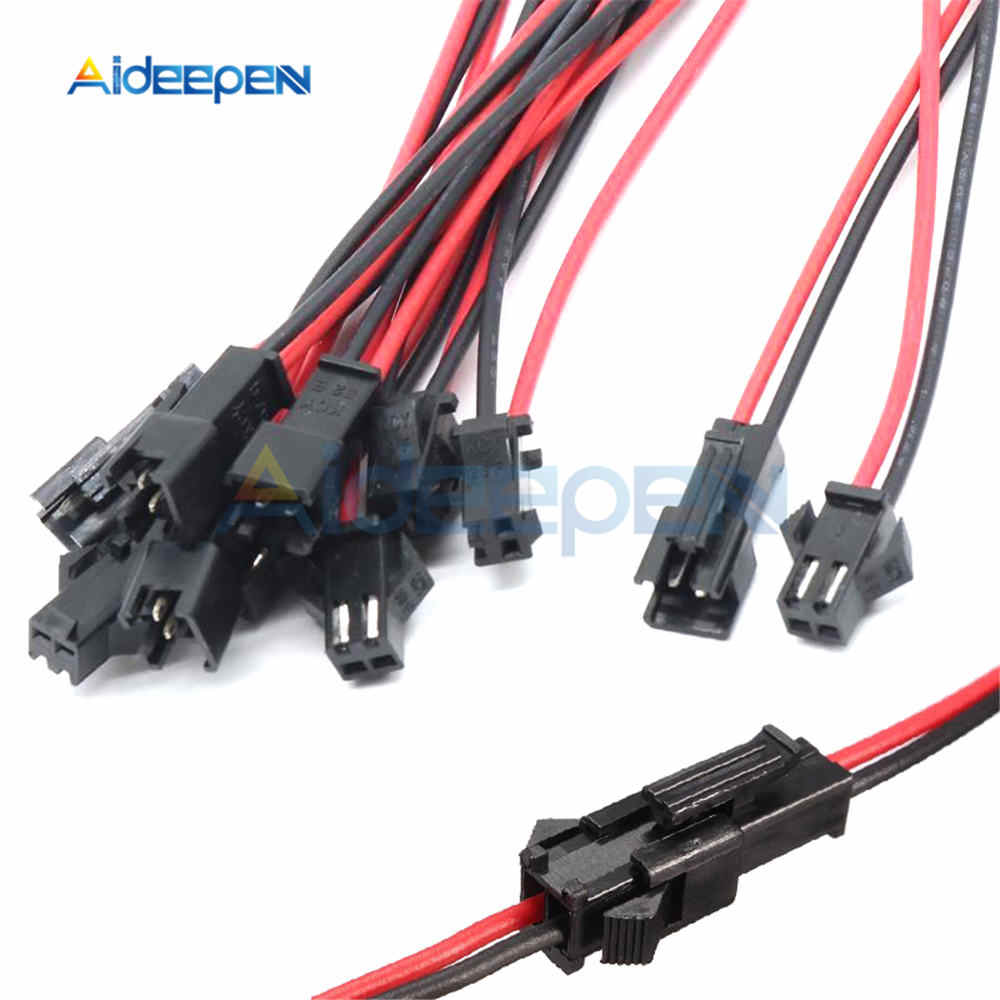 10 Pairs 10CM/15CM/30CM JST SM 2 Pins Connector Plug Male To Female Wire Connectors Cable 3mm for LED Strips Lamp Driver